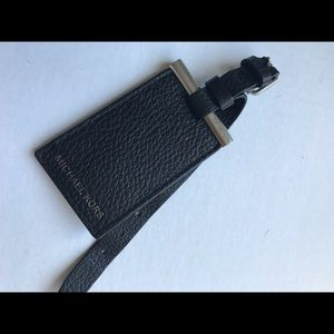 Micheal Kors Black Leather Luggage Tag